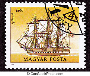 Canceled Hungarian Postage Stamp Jylland Steam and Sail...
