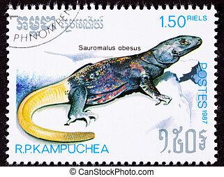Geannuleerde, Cambodian, Porto, postzegel, gele, algemeen,...