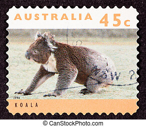 Canceled Australian Postage Stamp Koala Bear Sitting on...
