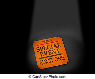 event ticket stub in spotlight