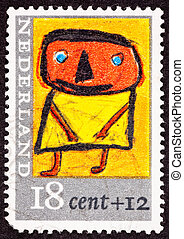 Canceled Dutch Netherlands Postage Stamp Child's Drawing...