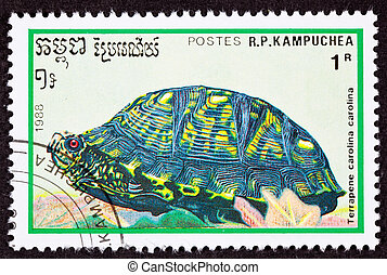 Geannuleerde, Cambodian, Porto, postzegel, Oostelijk,...