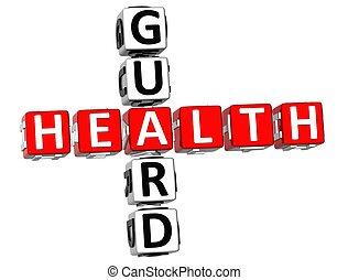 Health Guard Crossword - 3D Health Guard Crossword on white...
