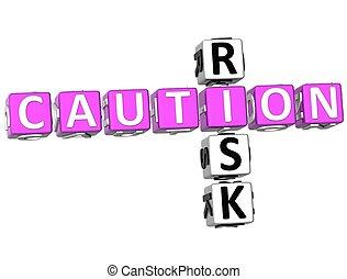 Caution Risk Crossword - 3D Caution Risk Crossword on white...