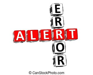 Error Alert Crossword - 3D Error Alert Crossword on white...