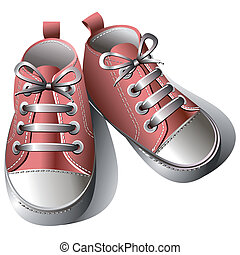 Children shoes - Pink childrens shoes isolated on a white...