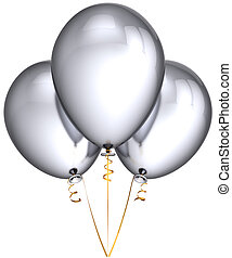 Silver party balloons white - Party balloons silver gray...