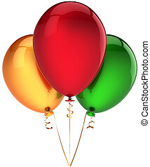 Three party balloons colorful