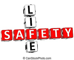 Safety Life Crossword - 3D Safety Life Crossword on white...