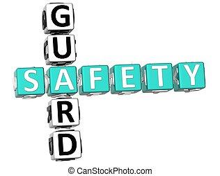 Safety Guard Crossword - 3D Safety Guard Crossword on white...