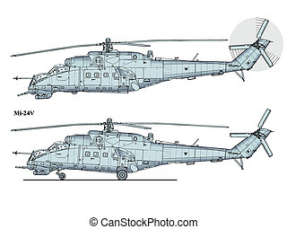 helicopter mi24 - crocodile - Detailed vector illustration...