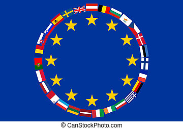 EU Flags - Flag EU with flags of countries - members of...