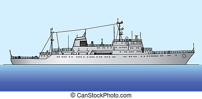 ship scorpion - Vector illustration of a ship