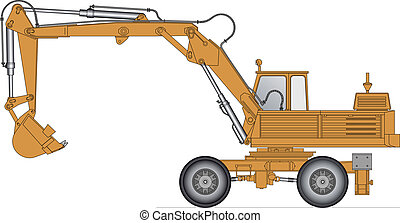 Vector illustration of a excavator isolated on white