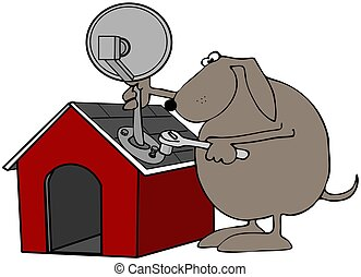 Satellite Dish On A Dog House - This illustration depicts a...