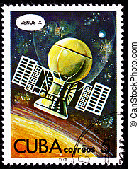 Cuban Postage Stamp Soviet Venera 9 Space Probe Planet Venus...