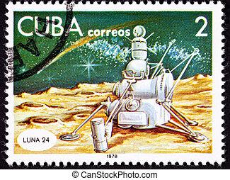 Cuban Postage Stamp Soviet Lunar Lander Luna 24, Moon...