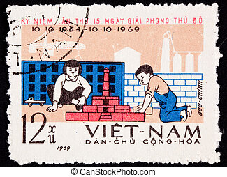 North Vietnamese commemoration of the 15th anniversary of...