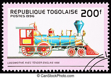 Canceled Togo Postage Stamp Old English Railroad Steam...