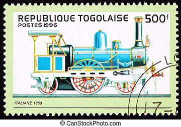 Old Italian Railroad Steam Engine Locomotive. Made by...