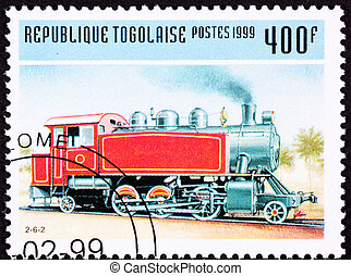 Canceled Togo Train Postage Stamp Old Railroad Steam Engine...