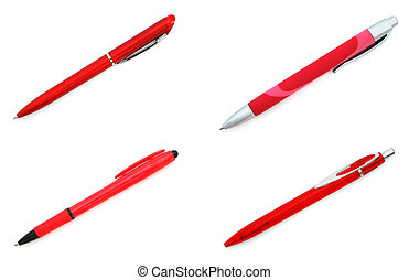 Set of four red pens on white background