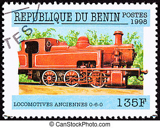 Canceled Benin Train Postage Stamp Old Railroad Steam Engine...