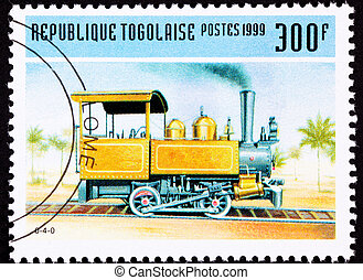 Small and early design railroad steam engine locomotive....