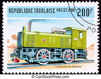 Canceled Togo Train Postage Stamp Old Railroad Gasoline...