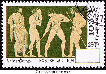 Laos Postage Stamp Side View Nude Greek Athletes Laurel...