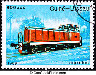 Canceled Guinea-Bissau Train Postage Stamp Red Railroad Diesel E
