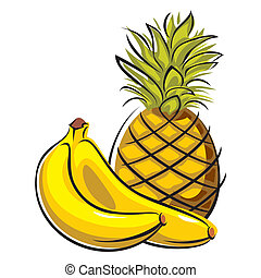pineapple and bananas - vector images of ananas and bananas