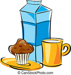 dairy breakfast - vector image breakfast of milk and cake