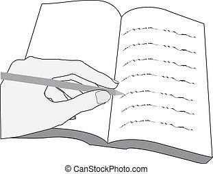 hand writing text in book