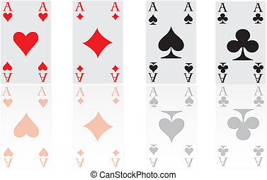 four poker cards aces - the four aces with reflection