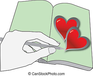 writing love - hand writing in book with hearts