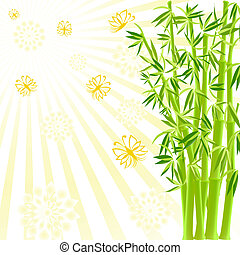 vector illustration of a bamboo with butterflies on sunny background