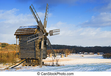 Old wooden windmills at Pirogovo ethnographic museum, near...