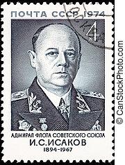 Canceled Soviet Russia Postage Stamp Fleet Admiral Ivan Isakov