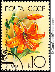 Canceled Soviet Russia Postage Stamp Orange Lily Flower, African