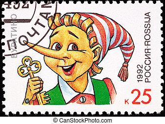 affrancatura, presa a terra, oro, Pinocchio, francobollo,...