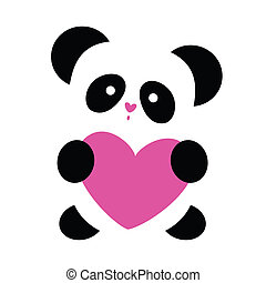 love-panda - love the panda with the heart on a white...