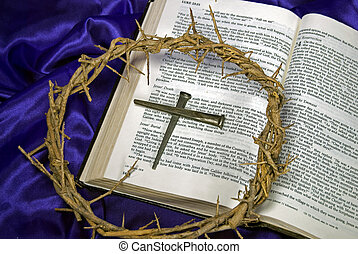 Crown of Thorns - Crown of thorns and old spikes on Bible.