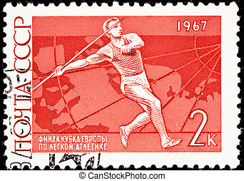 Canceled Soviet Russia Postage Stamp Man Throwing Javelin...