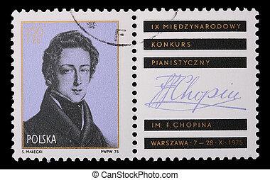 Polônia, -, circa, 1975:, Um, selo, -, Frederic, Chopin