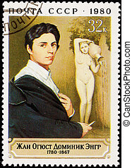 Canceled Soviet Russia Postage Stamp Painting Self Portrait Jean