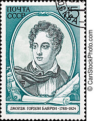 Canceled Soviet Russia Postage Stamp British Poet Lord Byron, Sh