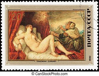 Dana?, doccia, oro, zeus, impregnating, lei, Perseus,...