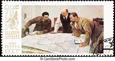 Lenin planning strategy with two generals. 70th anniversary...