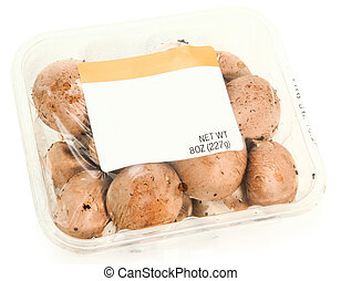 Blank Label Container Mushrooms - 8 oz plastic grocery...